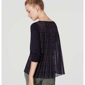 Ann Taylor Loft Plaid Pleated Sweater XS Blue